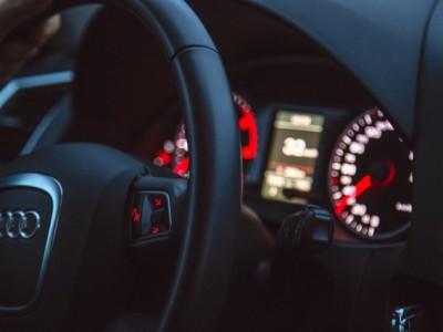 Inside a rental car